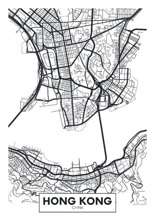 Illustration pour Vector poster map city Hong Kong. - image libre de droit
