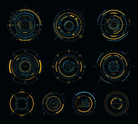 Illustration pour Vector sci-fi display circular elements, HUD futuristic user interface - image libre de droit