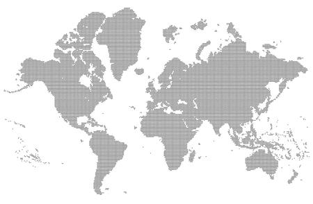 Ilustración de Dotted detailed map of the world vector silhouette - Imagen libre de derechos