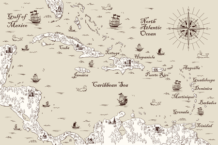 Illustration pour Old map of the Caribbean Sea, Vector illustration - image libre de droit