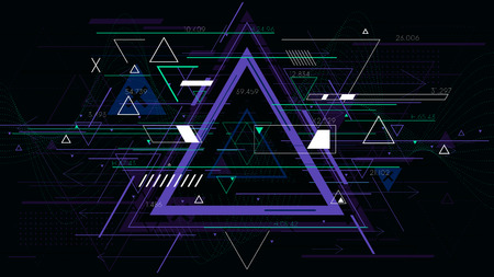Illustration pour Tech futuristic abstract triangle geometric backgrounds, sci-fi vector illustration - image libre de droit