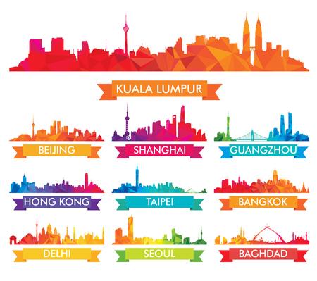 Illustration pour Colorful Skyline of Asian Cities - image libre de droit