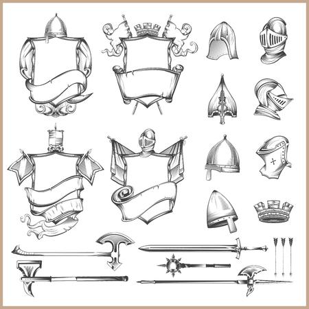 Ilustración de Collection of vector heraldic elements, helmets and medieval weapons - Imagen libre de derechos