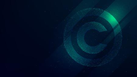 Illustration pour Copyright symbol, protection of intellectual property, future technology illustration - image libre de droit