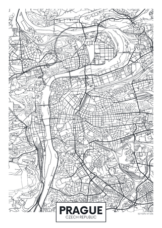 Detailed vector poster city map Prague