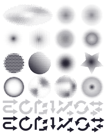 Illustration for Set of abstract vector halftone and arrows, elements of design - Royalty Free Image
