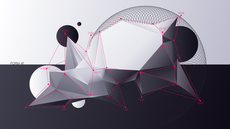 Illustration for Abstract chaotic geometric low poly shapes, Digital analytics background - Royalty Free Image