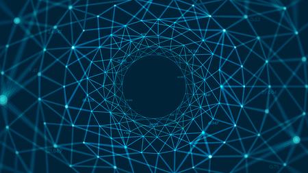 Ilustración de Abstract vector polygonal background with connected lines and dots forming a circle - Imagen libre de derechos