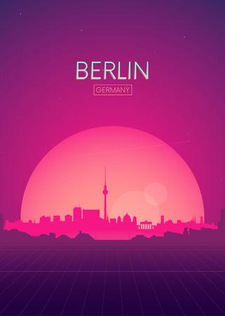 Illustration pour Travel poster vectors illustrations, Futuristic retro skyline Berlin - image libre de droit