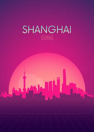 Illustration pour Travel poster vectors illustrations, Futuristic retro skyline Shanghai - image libre de droit