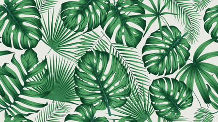 Illustration for Trendy seamless tropical pattern with exotic leaves and plants jungle - Royalty Free Image