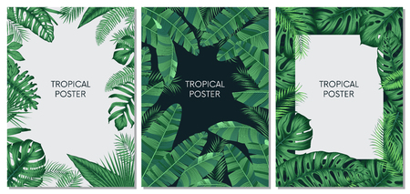 Illustration pour Vector design cards and banners with exotic leaves, tropical printable set - image libre de droit