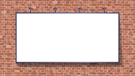 Illustration for White billboard mockup on brick wall vector illustration use for your advertising or product - Royalty Free Image