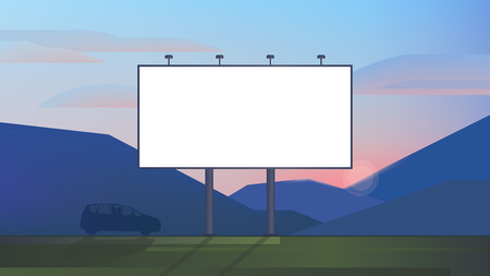 Illustration for Blank advertising billboard canvas mockup on backdrop landscape use for your advertising or product - Royalty Free Image