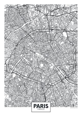 Ilustración de City map Paris, travel vector poster design - Imagen libre de derechos