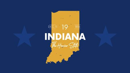 19 of 50 states of the United States with a name, nickname, and date admitted to the Union, Detailed Vector Indiana Map for printing posters, postcards and t-shirts