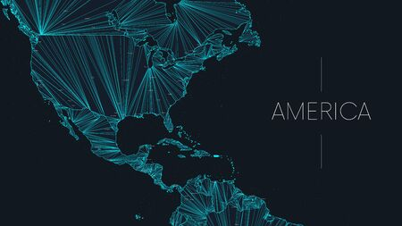 Illustration pour Polygonal map of the American continent with nodes linked by lines, vector global network concept poster, abstract illustration - image libre de droit