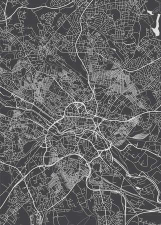 Illustration pour City map Leeds, monochrome detailed plan, vector illustration - image libre de droit