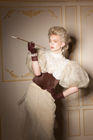Elegant portrait with old-fashioned cigarette holder