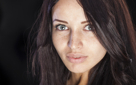 Nice caucasian girl with freckles