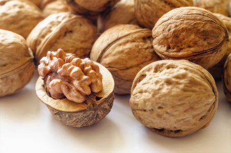 Close up of a heap of dry tasty walnuts