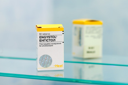 Kiev/Ukraine - August 27, 2017 - Engystol is a homeopathic preparation which has been proven to significantly reduce the duration and severity of symptoms during an acute viral infection