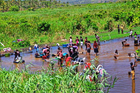 Cool off and bathe in a river in Mozambique