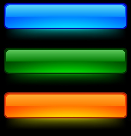 Neon shiny buttons. Vector illustration.