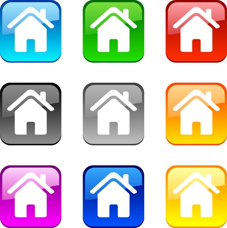Home shiny buttons. Vector illustration.