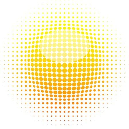 Illustration for Orange halftone sun. Vector illustration.  - Royalty Free Image
