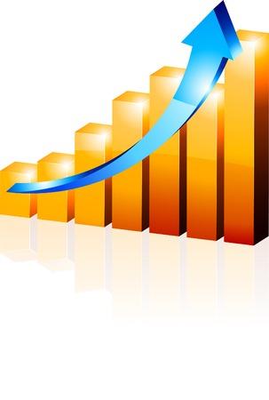 Illustration pour 3d growth diagram. Vector illustration. - image libre de droit