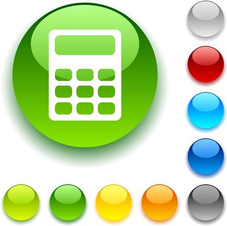 Calculate shiny button. Vector illustration.