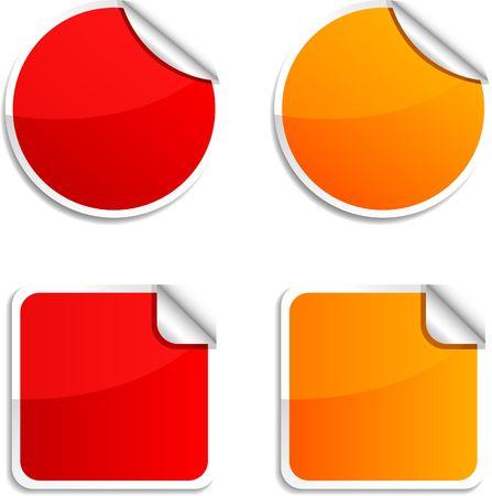 Illustration pour Round and square glossy stickers. - image libre de droit