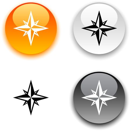 Compass glossy round buttons.