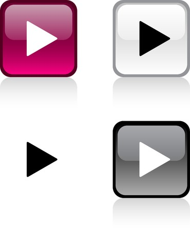 Play glossy square vibrant buttons.