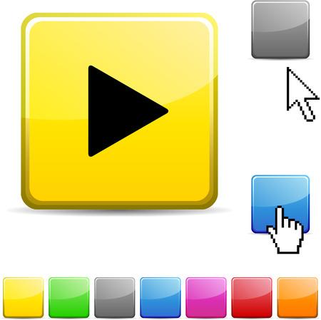 Play glossy vibrant web icon.