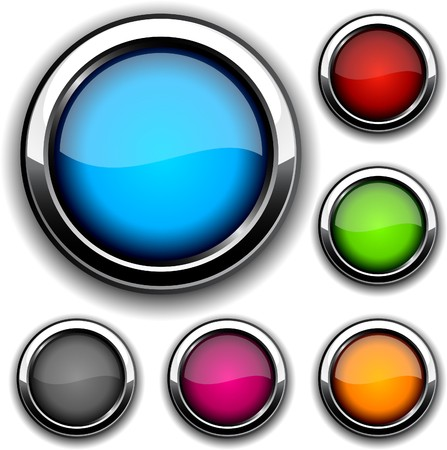 Collection of glossy buttons.  illustration.