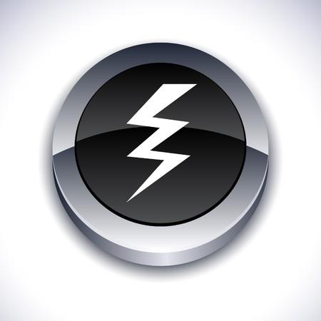 warning metallic 3d vibrant round icon.
