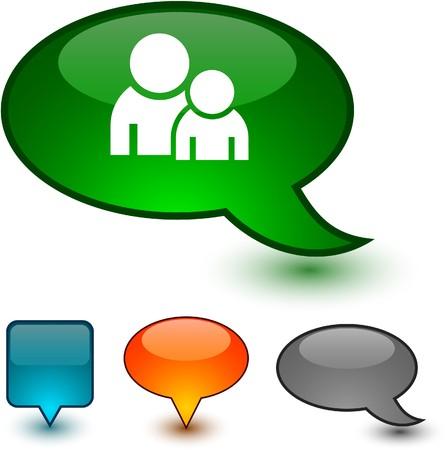 Forum glossy speech  icons.
