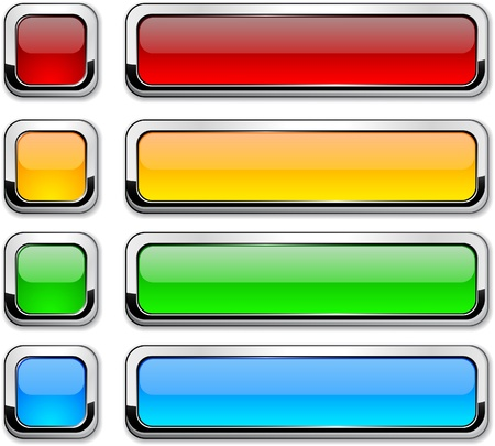 Set of buttons with metallic borders.