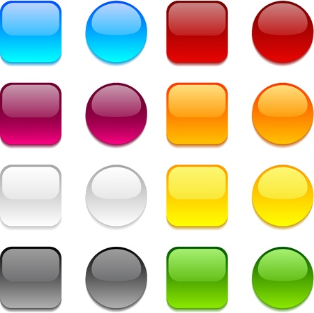 Collection of web buttons in different colors.