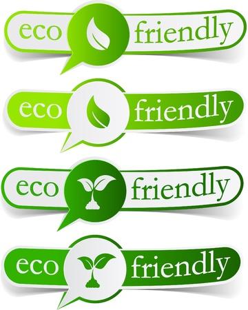 illustration of Eco friendly sticky labels.