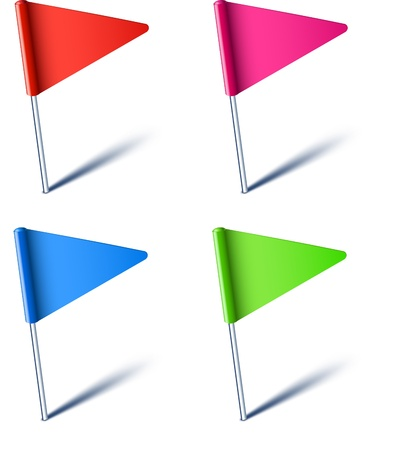 Illustration for Vector illustration of color pin flags. - Royalty Free Image