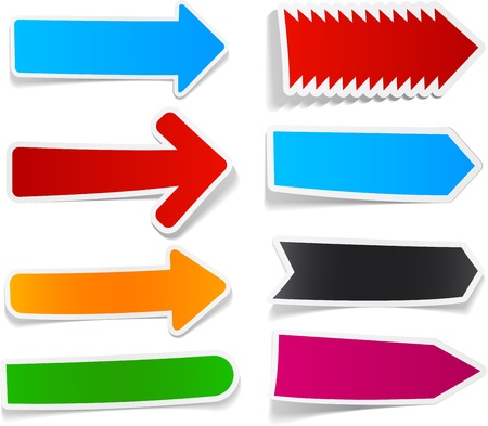 Sticky collection of paper arrows. Vector illustration.