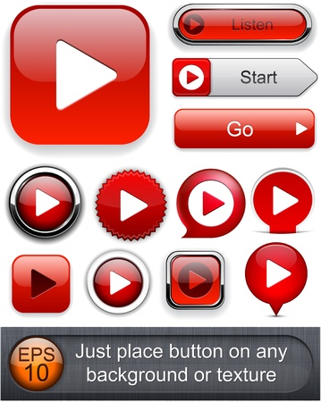 Play red web buttons for website or app.