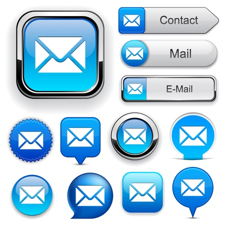 Mail blue design elements for website or app