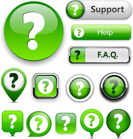 FAQ green web buttons for website or app.
