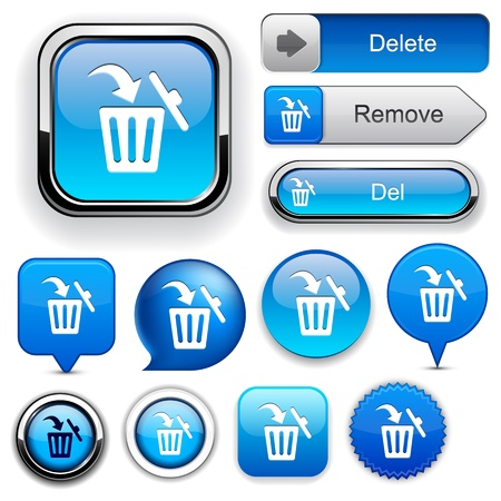 Dustbin blue design elements for website or app