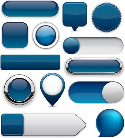 Blank Dark-blue web buttons for website or app