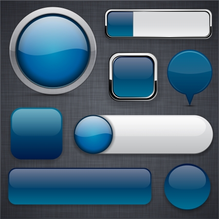 Blank Dark-blue web buttons for website or app